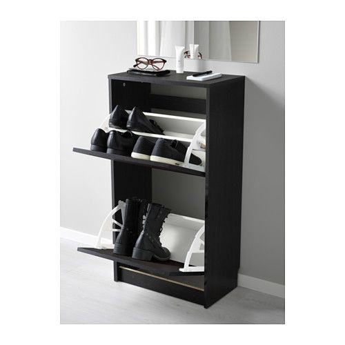 BISSA Shoe cabinet with 2 compartments - black/brown - IKEA.  BUY 2 LOW CABINETS INSTEAD OF 1 TALL PANTRY.