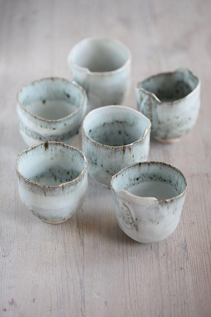6 main construite en grès et porcelaine 4 oz tasse par ceramicpix