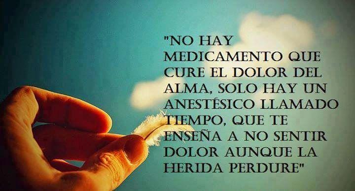 No hay medicamento que cure el dolor del alma,  solo hay un anestésico llamado tiempo.