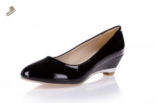 Charm Foot Fashion Womens Wedge Low Heel Pumps Shoes (10.5, Black) - Charm foot pumps for women (*Amazon Partner-Link)