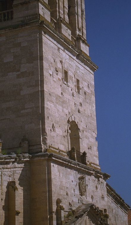 Cathedral at Ciudad Rodrigo today showing damage caused by canon fire during the siege.