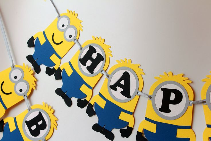 Minions Birthday Banner, Despicable Me Banner, Minion Birthday Decorations, Minions Party, Minions in Royal Blue, Personalized Banner - pinned by pin4etsy.com
