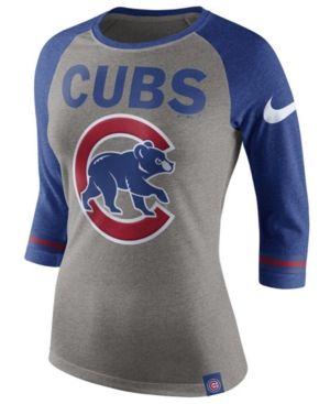 Nike Women's Chicago Cubs Tri Raglan T-Shirt - Gray XXL