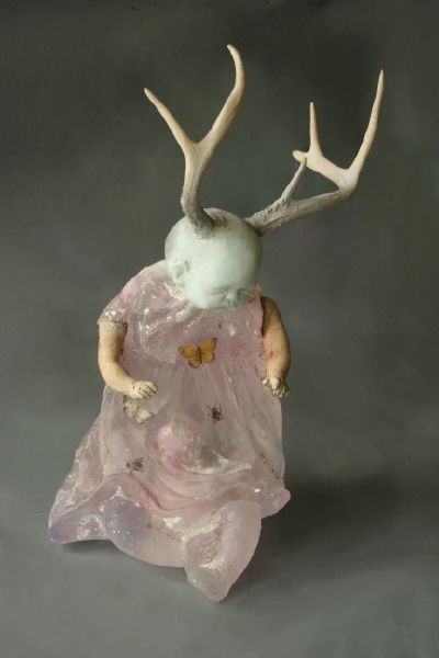 Christina Bothwell   Antlered Deer Baby   cast glass, raku fired clay, composition doll arms, and oil paints