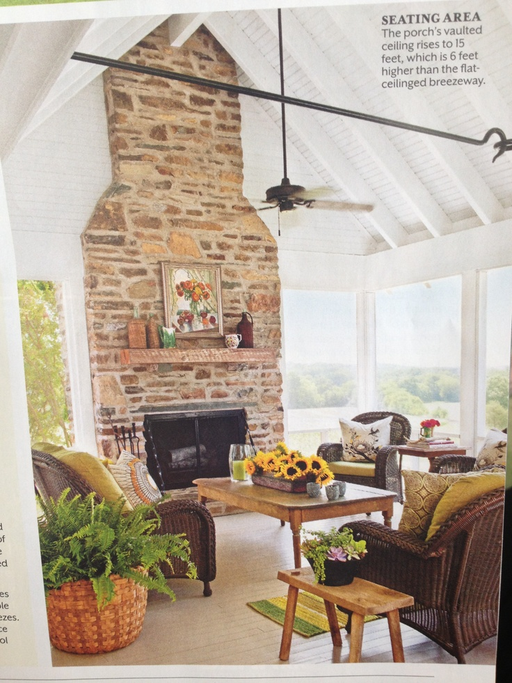 159 best screened porch bliss images on pinterest for Screened in porch with fireplace