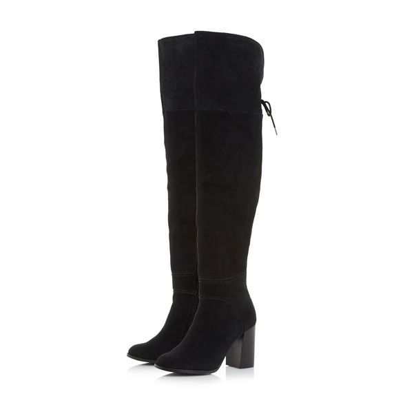 Womens Office Krissy Over The Knee Boots Black Leather Boots
