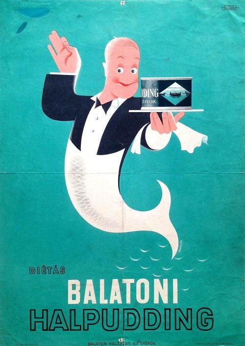 plakatbolt:  diétás Balatoni halpudding (1930s) Konecsni, György diet Balaton fish pudding Eredeti régi plakát. Original vintage Hungarian c...