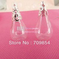 6 * 18 * 30 mm gota de agua la parte posterior plana de cristal burbuja Vial botella + plata arriba cap