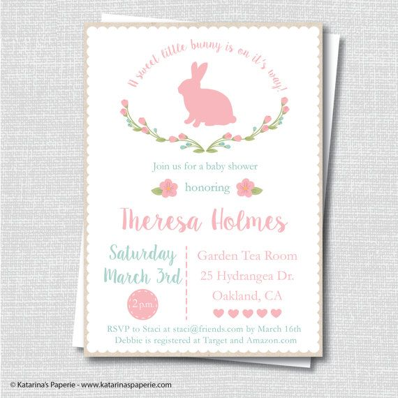 Rustic Bunny Baby Shower Invite   Girl Baby Shower   Spring Baby   Digital  Design Or Printed Invitations