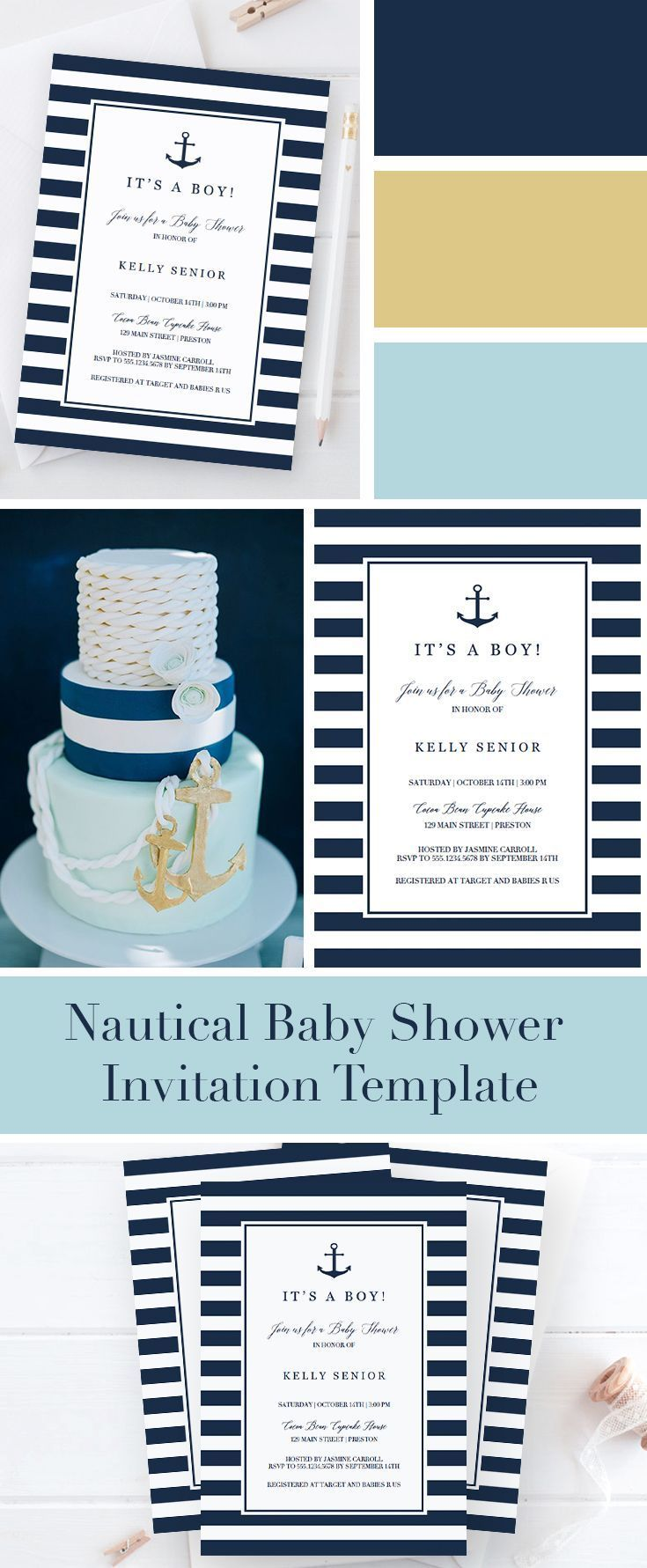nautical baby shower invitation template in 2019 baby shower