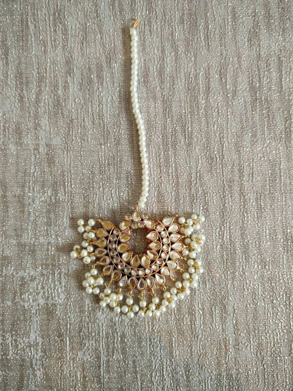 MT Kundan white Maang Tika head piece, Indian Pakistani hair jewellery, Gold…