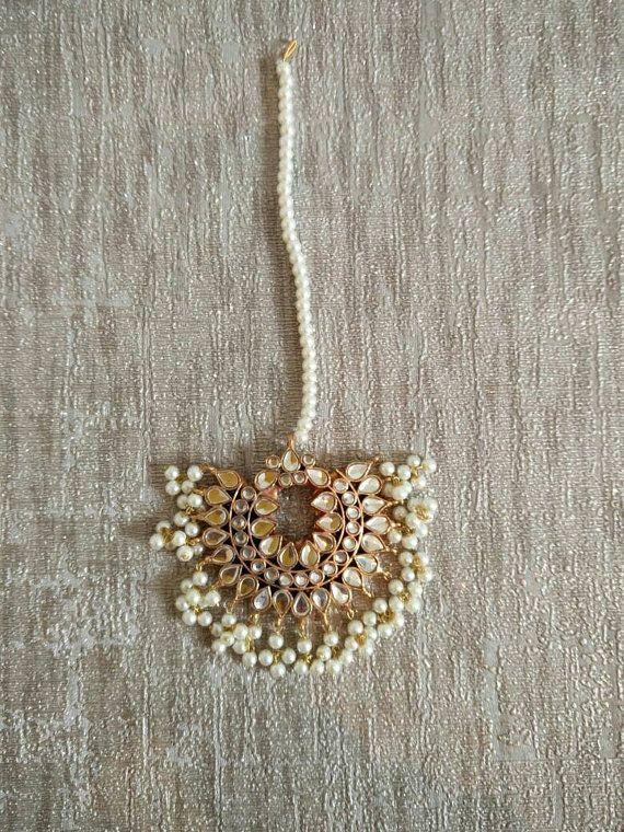 MT Kundan white Maang Tika head piece, Indian Pakistani hair jewellery, Gold…