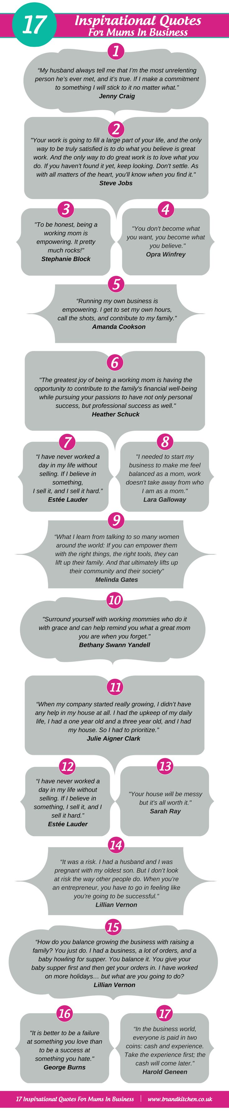 17 Inspirational Quotes For Mums In Business #inforgraphic #quotes #inspirational #business #mumpreneurs