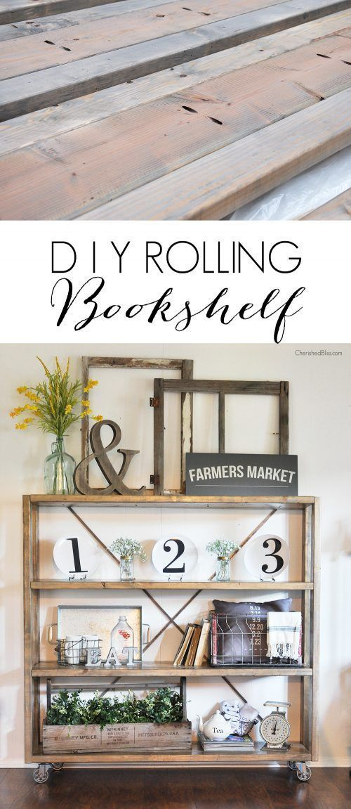 Take a look at this homemade farmhouse bookshelf. I love how she keeps the farmhouse display light (not too cluttered) – Restoration Hardware Knock Off Rolling Bookshelf. More DIY Fixer Upper Farmhouse Style Ideas on Frugal Coupon Living.