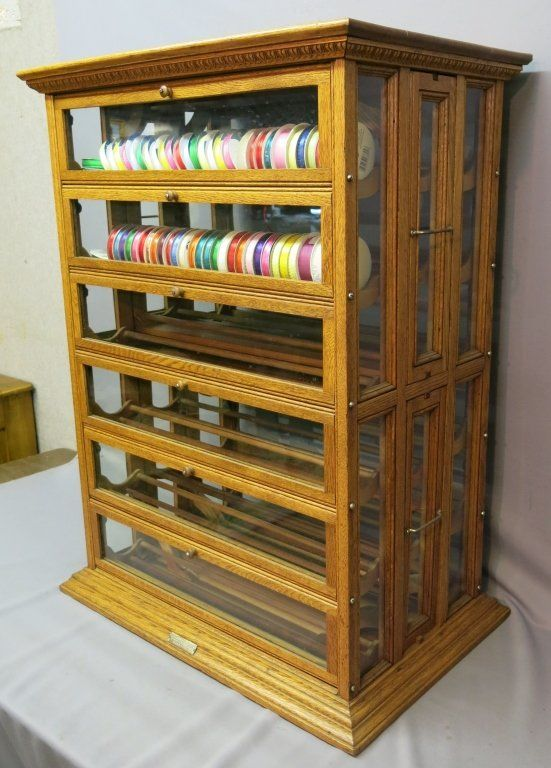 OAK AND GLASS RIBBON CABINET : Lot 28 COOL, I love antique general store  displays - 39 Best Spool & Ribbon Cabinets Images On Pinterest Cabinets