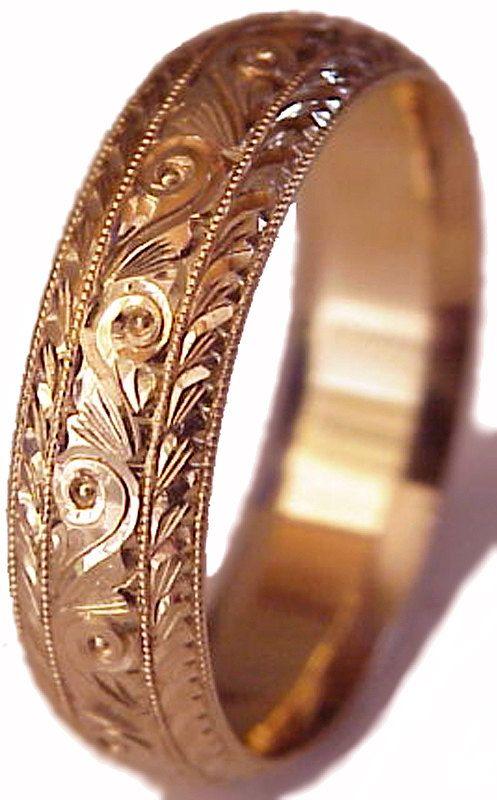 New HAND ENGRAVED Mans 14K Rose (Pink) Gold 6mm wide Wedding Band ring Cmfort Fit