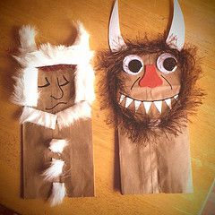 Wild Things Paper Bag Puppets...there are no directions for this one, but the picture is really enough. It looks like a little fur from the craft store, paper bags, and construction paper do the trick! Too cute!