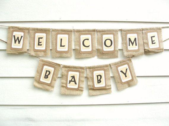 Welcome Baby Burlap Banner