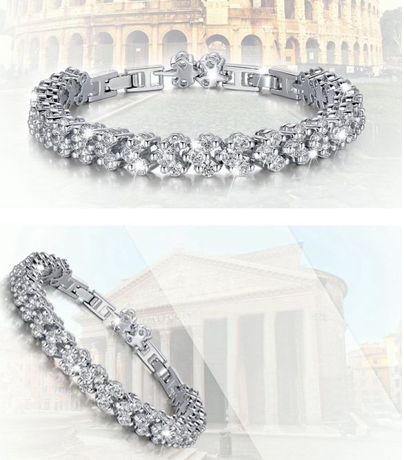 Silver Plated Roman Zircon Full Rhinestone Chain Bracelet For Women FREE shipping worldwide 11.99 usd click on picture to order.