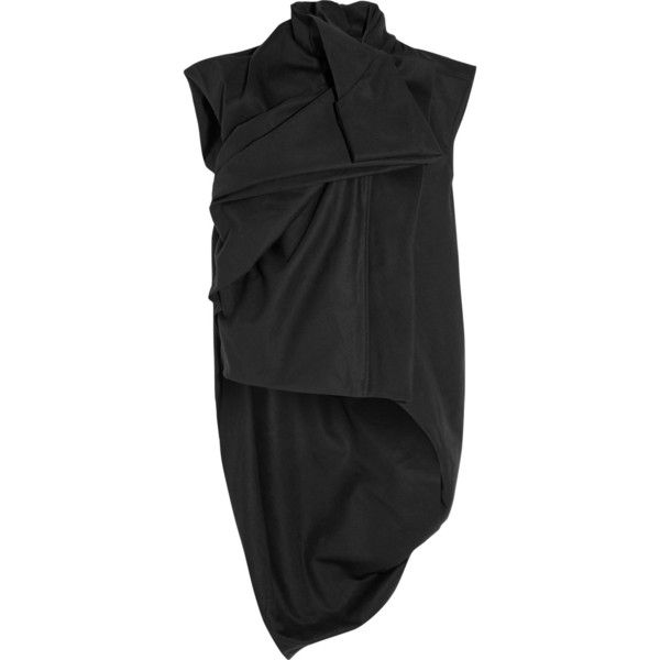 Rick Owens Draped cotton-canvas vest ($1,265) ❤ liked on Polyvore featuring outerwear, vests, black, rick owens, rick owens vest, vest waistcoat and draped vest