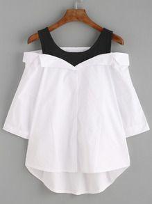 Blusa asimétrica hombros al aire - blanco