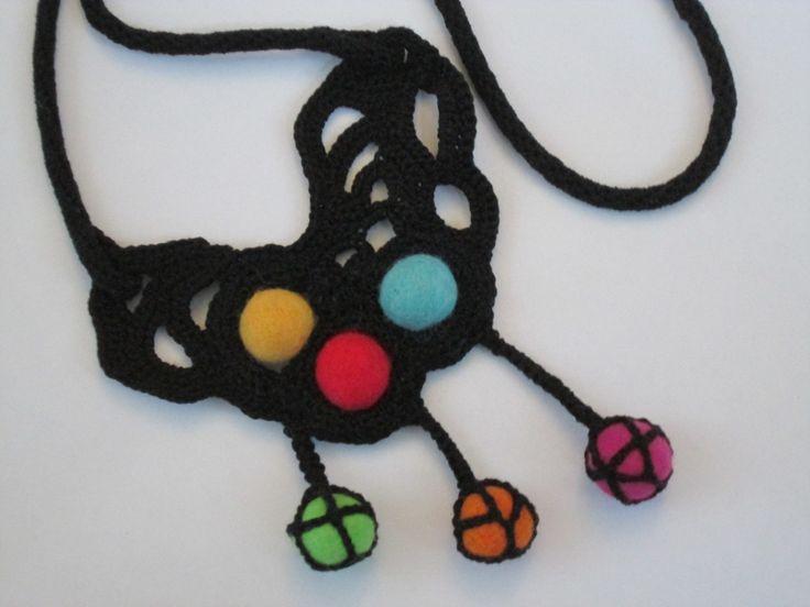 Felt beads pendant,felt beads necklace,Crochet pendant,Boho necklace,Black pendant,wearable art by AgathaBee on Etsy