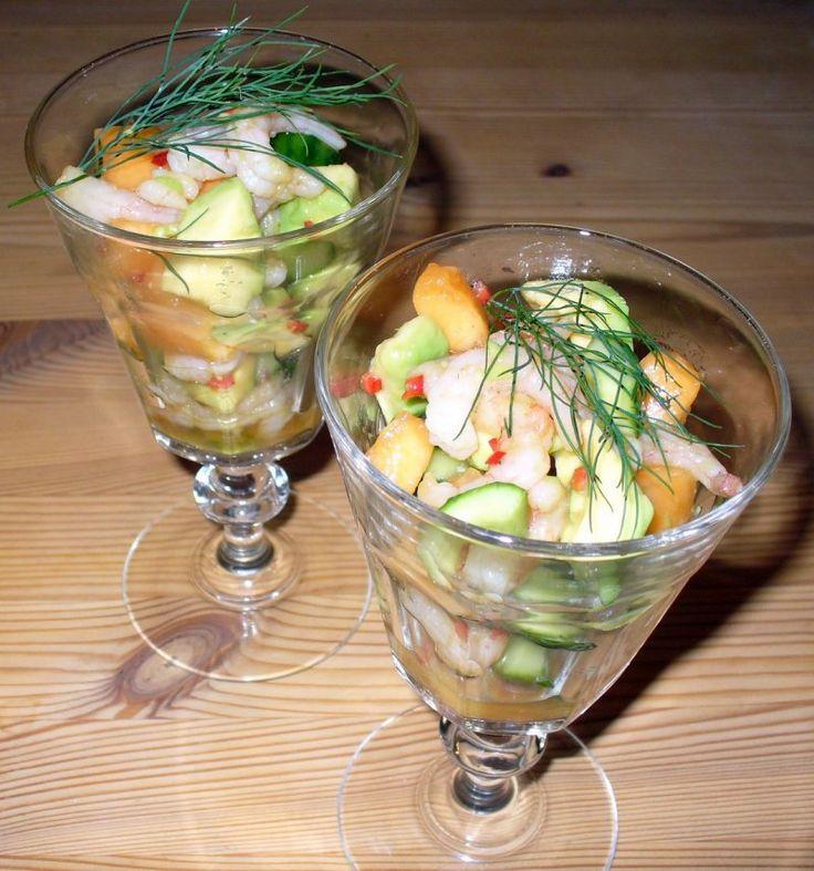 Reje-meloncocktail., Danmark,Sankt hans, Forret, Salat, opskrift