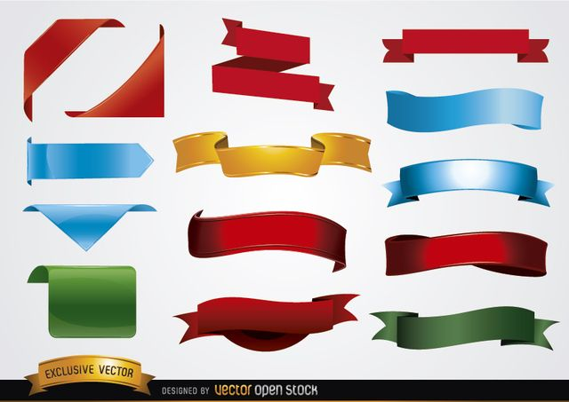Free Vectors Colored Banner Shapes Vector Open Stock