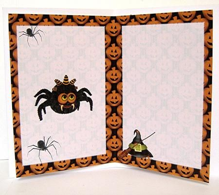 Spooky Spiders Halloween Insert on Craftsuprint designed by Jean Gordon - made by Maxine  Jones - I printed the sheet on to decoupage paper and trimmed the edges. I added tape to stick it into the card giving it a professional finish. This insert can be used for any Halloween cards that you make. - Now available for download!