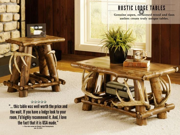 Genuine aspen and reclaimed wood create unique tables for your living room decor.