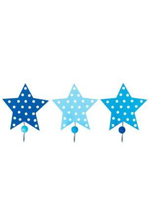 JaBaDaBaDo Krokar Stjärna är 3 st stjärnformade krokar. Rolig inredningsdetalj som piffar upp rummet eller garderoben.<br>Färg: Blå. Mått: Bredd 15 cm. Höjd 10 cm.<br>