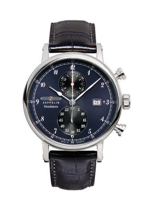 Luxusní pánské hodinky z kolekce Nordstern, které jsou vybaveny přehledným ciferníkem se stopkami. Německá kvalita a preciznost inspirovaná   Zeppelin Nordstern 7578-3