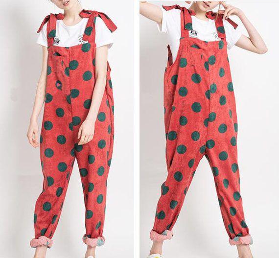 Corduroy Women Overall Pants Black Dot Jumpsuits Women Plus Size Pants YZ--89