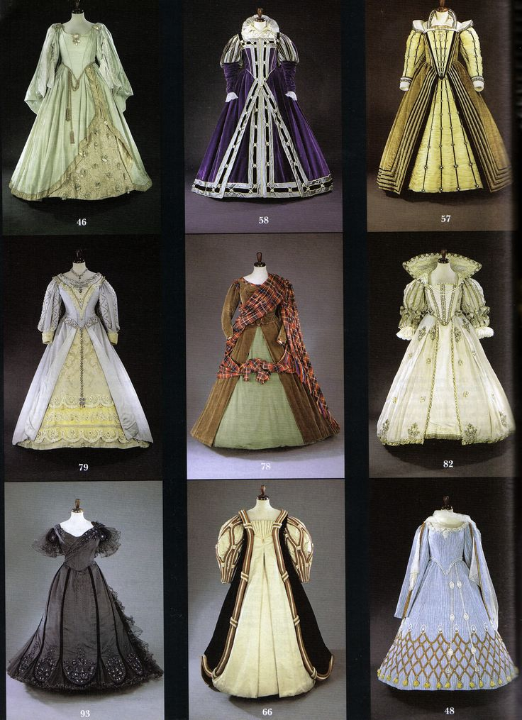 Collection of 16th Century gowns. I know it's not 1860's, but they could easily be translated into such.