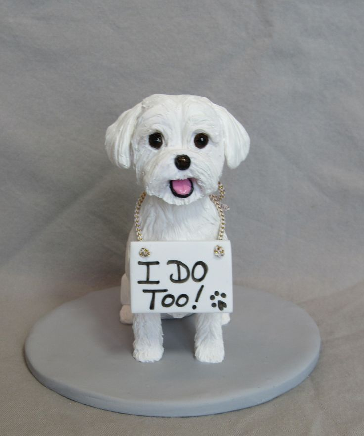 """Custom dog wedding cake topper """"I DO TOO!"""","""