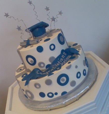 Melissa S Graduation Cake Blue Silver And White Cake