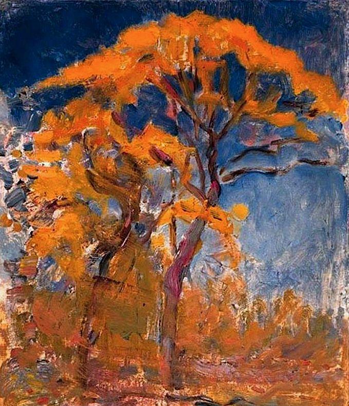 Piet Mondrian - Two trees with orange foliage against blue sky, 1908