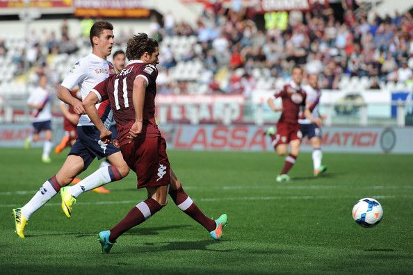 Alessio Cerci (R) of Torino FC scores their second goal during the Serie A match between Torino FC and Cagliari Calcio at Stadio Olimpico di...