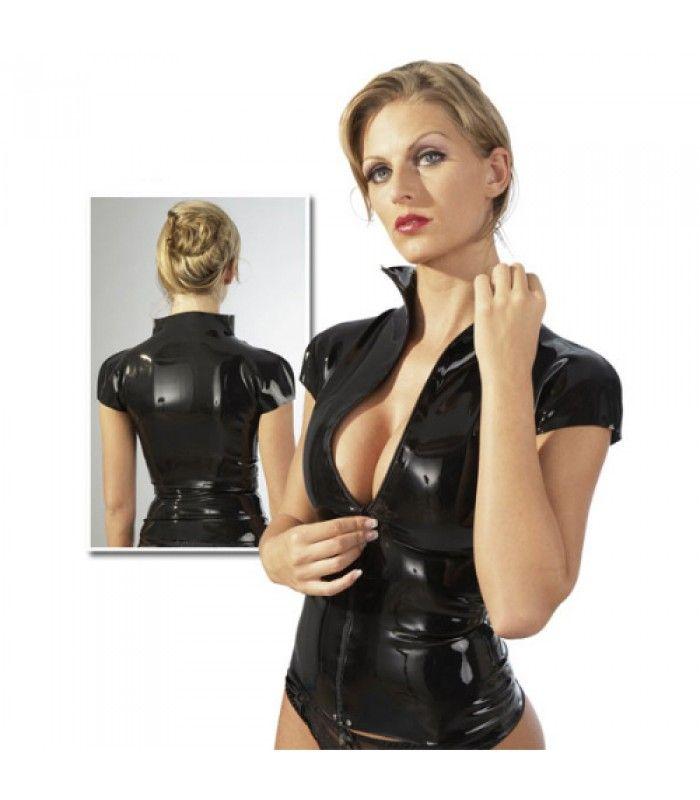 Getailleerd Latex Shirt voor Haar, met korte mouw en doorlopende ritssluiting aan de voorzijde.Kleur: zwart - 100 % Latex.