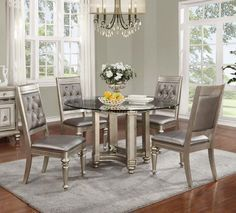 "Shop the 54"" Coaster 106470 Metallic Platinum Round Glass Dining Table with 4 chairs at great price."