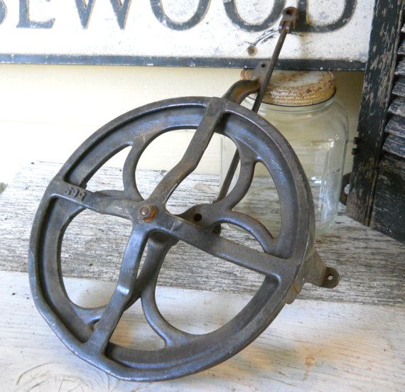 Antique Cast Iron Wheel Pulley 1800s Ornate Industrial