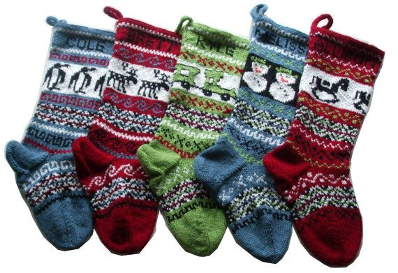 Personalized knitted Christmas Stockings Set of 5 by Gigi82Knits, $215.00