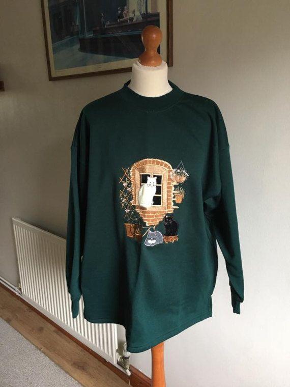 Cat lover Vintage jumper Sweatshirt  embroidery dark green