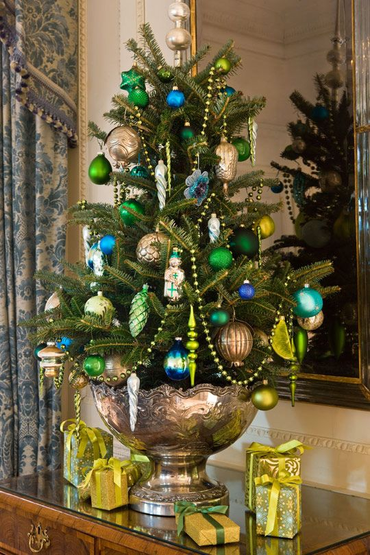 Decorating: A Capital Christmas - Traditional Home® kelly green,  lime green, cobalt and silver.