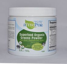 Superfood Organic Greens Powder- aVivoPur. Superfood Organic Greens Powder is designed to help you get the nutrition and energy you need from whole, natural organic sources. Below you will find knowledge and information to help you learn how adding a Superfood Organic Greens Powder supplement to your diet may support your healthy lifestyle.