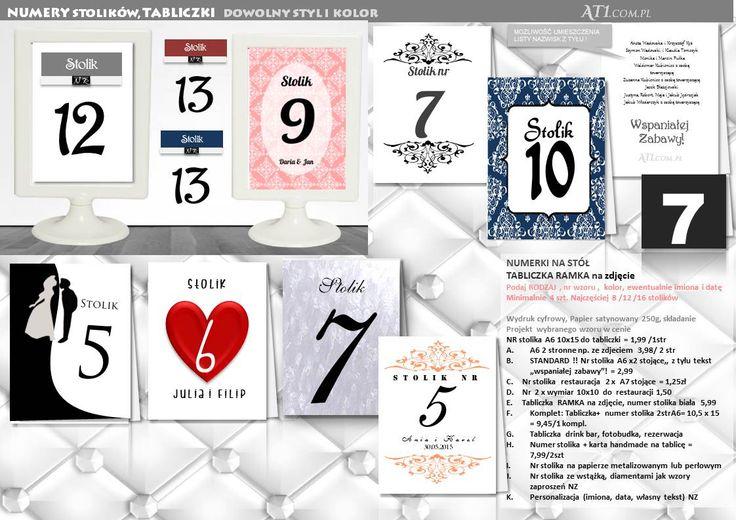 numery stolików tabliczki na stoły, numery na stół weselny, numerki do restauracji, tabliczki drink bar, fotobudka, menu, projekt i druk, standard od 1,99 małe od 1,25 min.4szt: