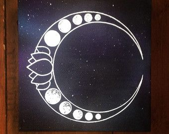 Luna Lotus Canvas Space Painting Spray Screen Print Nebula Galaxy Cosmic Planets Stars Solar System Witch New Age Moon Phase Dotwork