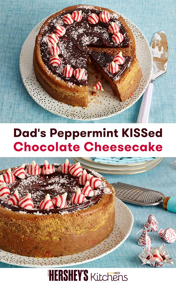 Dad's Peppermint KISSed Chocolate Cheesecake Recipe is the perfect decadent dessert for the holidays. Using HERSHEY'S KISSES Brand Candy Cane Mint Candies, make this delicious recipe for your next holiday party. Get the recipe at HERSHEY'S Kitchens today.