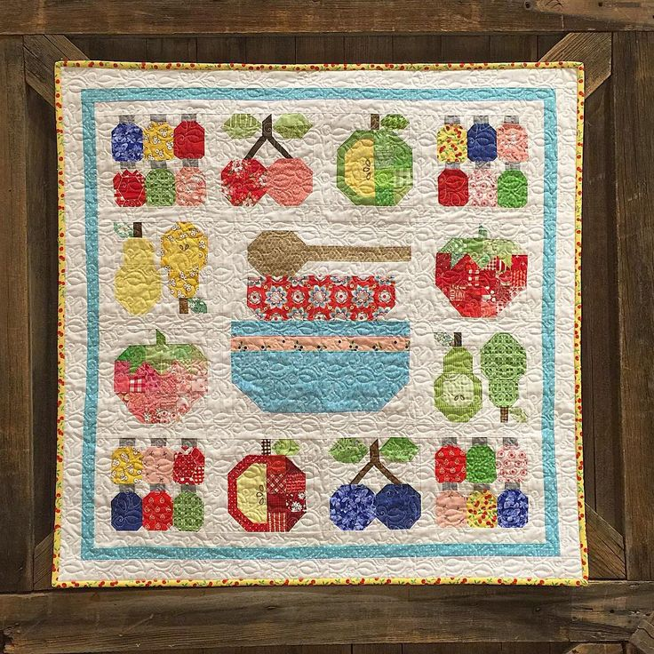 """New kit @thimblesandthreads here on retreat...they used Farm Girl blocks and my Tabletopper setting to create this cute little quilt called """"Fruit Salad"""" ❤️ #beeinmybonnet #farmgirlvintage #tandtfarmgirlvintage"""