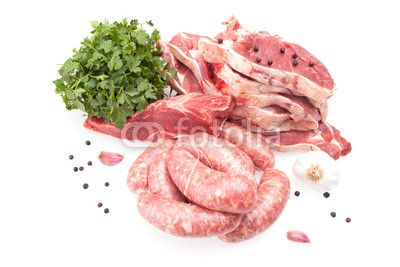 Raw Steaks And Sausages available at Fotolia